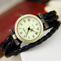 Elegant Watch with Fashion  Leather Creative Bracelet