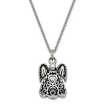 Antiqued Stainless Steel CZ Birthstone Angel Ash Holder Necklace 18 In