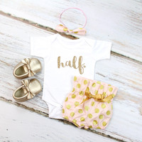 Baby Girls Half Birthday Outfit | Pink & Gold Polka Dot High Waisted Bloomers Outfit with Gold 'half' and Gold Heart