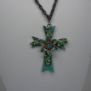 Chunky Cross Pendant, Chunky Cross Necklace, Large Cross Necklace, Turquoise Cross Pendant, Large Cross Pendant, Hand Painted Cross Pendant