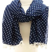 Navy Combo Crochet-Trimmed Polka Dot Scarf by Charlotte Russe