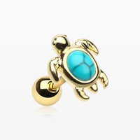 Golden Marine Turtle Turquoise Stone Cartilage Tragus Earring