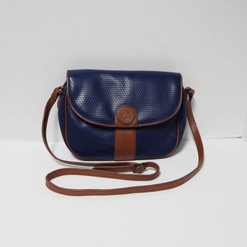 Vintage Liz Claiborne Navy Blue Shoulder Purse, Messenger Bag