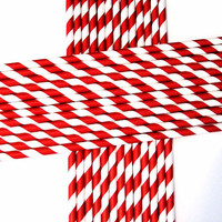 25 Paper Red & White Striped Straws/Cake Toppers/Wreaths