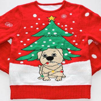 Adult Ugly Christmas Sweater - Dog Tangled with Christmas Lights