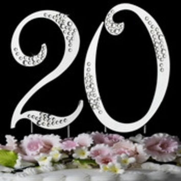 20th Birthday or Anniversary Crystal Accented Cake Top * Sparkle *