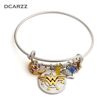 """Wonder Woman Charm Bracelet with Armor/Tiara/Crystals Bangle""""I do freely and with Clear Conscience""""Hand Stamped Letter Bangle"""