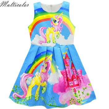 Multicolor 2018 Summer Baby Girl Dresses For Girls Princess unicorn Dress Print Party Dress Sleeveless Children Clothes Vestido