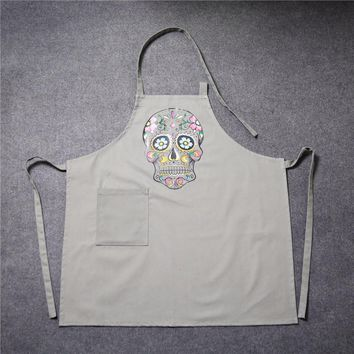 100% Cotton Canvas Kitchen Apron Fashion Printed Skull Woman Man Unisex Cooking Aprons With Pocket Funny Bibs