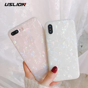 USLION Glitter Phone Case For iPhone 7 8 Plus Dream Shell Pattern Cases For iPhone XR XS Max 7 6 6S Plus Soft TPU Silicone Cover