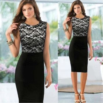 PEAPIX3 2014 Pinup Elegant Floral Lace Tunic Dress Knee-Length Colorblock Shift  Casual Pencil Dress