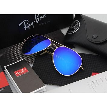 ESBONQK Ray Ban Aviator Sunglasses Blue Flash/Gold Frame RB3025 112/68F 58mm