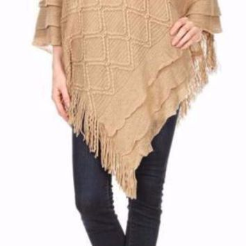 Womens Khaki Pullover V-Neck Sweater Poncho Cape with Fringe