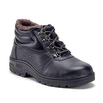 Men's Heavy Duty Leather Steel Toe Fur Lined Non-Slip Safety Construction Boots