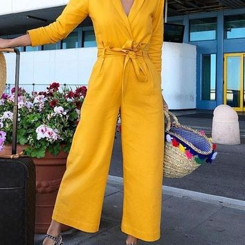 New Yellow Sashes Turndown Collar Long Sleeve Fashion Long Jumpsuit