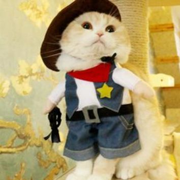 Old West Sheriff Funny Pet Costume Outfit for Dogs and Cats