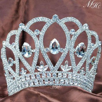 Royal Large Tiara Diadem Beauty Pageant Crown Handmade Crystal Rhinestones Women Hairband Bridal Wedding Party Costumes