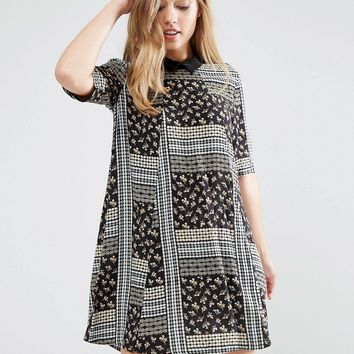 BCBG Generation A-Line Dress with Collar in Mixed Print