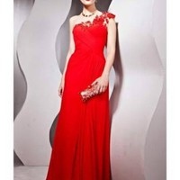 Sheath One Shoulder Beaded Lace Red Tencel Prom Dress [dressca7755] - £103.57 : dressca.com!, custom made wedding dresses