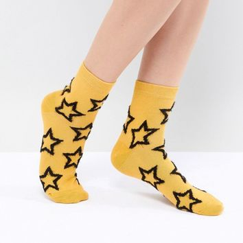 ASOS DESIGN Fluffy Star Ankle Socks In Mustard at asos.com