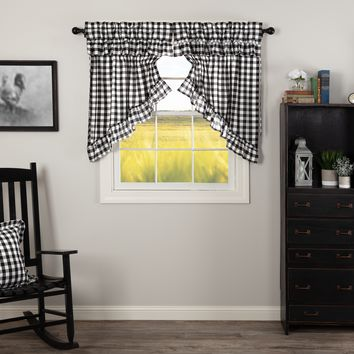 Annie Black Buffalo Check Ruffled Prairie Swag Curtains
