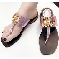 GUCCI clip-toe towing new summer products genuine leather big brand runway style cool slippers women low-heel flip-flops beach T type