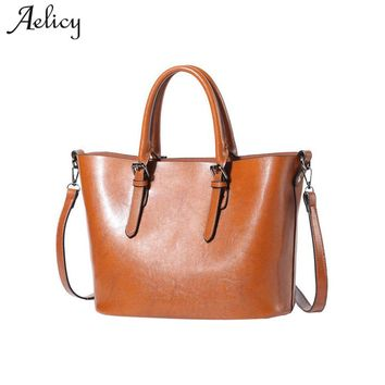 Aelicy Luxury fashion women handbags oil wax leather large capacity tote bag pu leather fake designer handbags day clutches