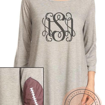 The Football Elbow Raglan- Monogrammed - Multiple Sizes - Custom - The Little Vinyl Shop