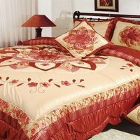 DaDa Bedding Sunset Flowers Elegant Burgundy Red Floral Ruffles Comforter Set (BM465L)