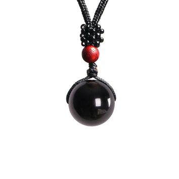 Black Obsidian Rainbow Eye Beads Ball Natural Stone Pendant Transfer Lucky Love Crysta Amulet Pendant Necklace Jewelry
