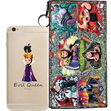 Disney's Villains (Evil Queen) Jelly Clear Case For Apple Iphone 6/6s+ Pouch