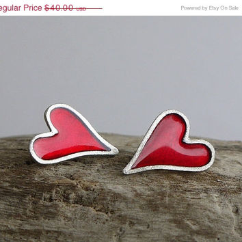 ON SALE Red heart silver  post earrings. Silver &  red stud earrings. Red heart earrings. Sterling silver  heart earrings with red color ena