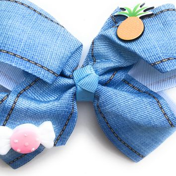 "5"" Gross Grain Blue Jean Hair bow with Pineapple and Candy"