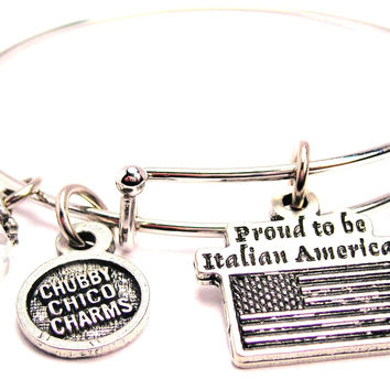 Proud To Be Italian American Bangle Bracelet