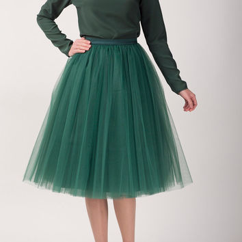 Green tulle skirt, Handmade long skirt, Handmade tutu skirt, High quality skirt, Tea length petticoat, Tea length skirt