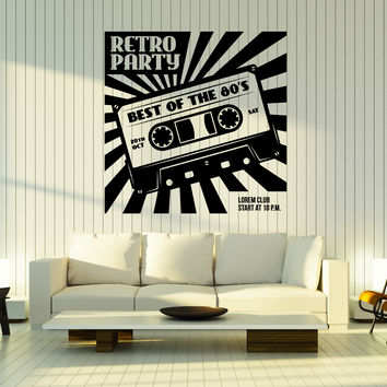 Wall Vinyl Decal Retro Party Accessories Cassette for Tape Recorder Unique Gift z4794