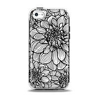 The White and Black Flower Illustration Apple iPhone 5c Otterbox Symmetry Case Skin Set