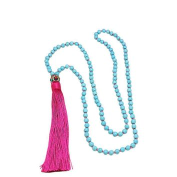 ROXI Natural Stone Beads Long Necklace Classic Nepal Bead Tassel Necklace Hand Knotted Boho Necklace For Women Jewelry