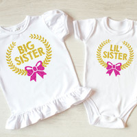 Big Sister Little Sister Outfits. Big Sister Shirt. Big Sister Announcement. Big Sister Glitter Outfit. Little Sister Baby Bodysuit.