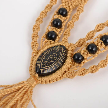 Set of 2 handmade designer macrame woven thread necklaces beige and brown gift