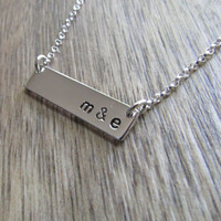 initial bar necklace custom necklace you choose the initials or date or word