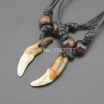 Tibet Jewelry Amulet Real Tooth Fangs Canine Wolf Tooth Pendant Surfer Necklace Adjustable Gift MN251