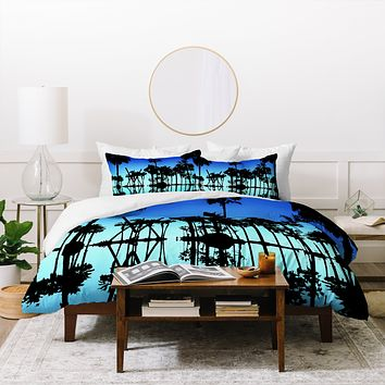 Amy Smith Blue Palms Duvet Cover