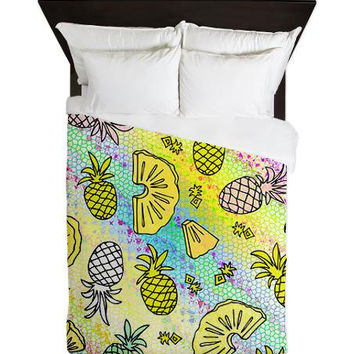 Queen Duvet Cover - Pineapple Mix #2 - Ornaart Design