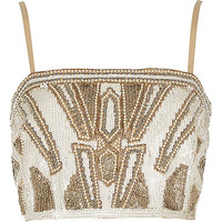 River Island Womens Gold bead embellished bralet