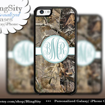Camo Blue Monogram iPhone 5C 6 Plus Case iPhone 5s 4 case Ipod Realtree Personalized Country Inspired Girl