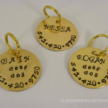 Pet Id Tag Brass Circle Hand Stamped Metal
