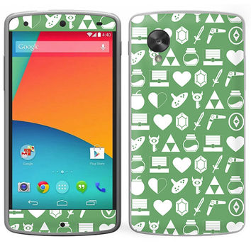 The Legend Of Zelda Inspired Google Nexus 5 Skin Decal Sticker Cover Geeky Gamer