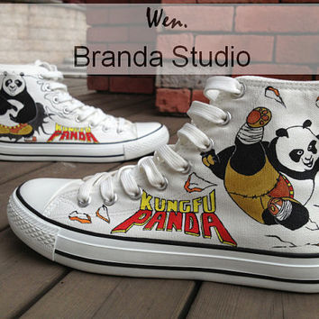 Justice Kung Fu Panda Shoes,Studio Hand Painted High Top,Paint On Custom Converse Shoes Only 91Usd,Buy One Get One Phone Case Free