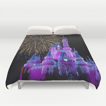 Disney Magic Kingdom Fireworks at Christmas - Cinderella Castle Duvet Cover by Hub Photos | Society6